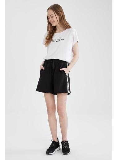 DeFacto Relax Fit Yazı Baskılı Kısa Kol T-shirt Beyaz